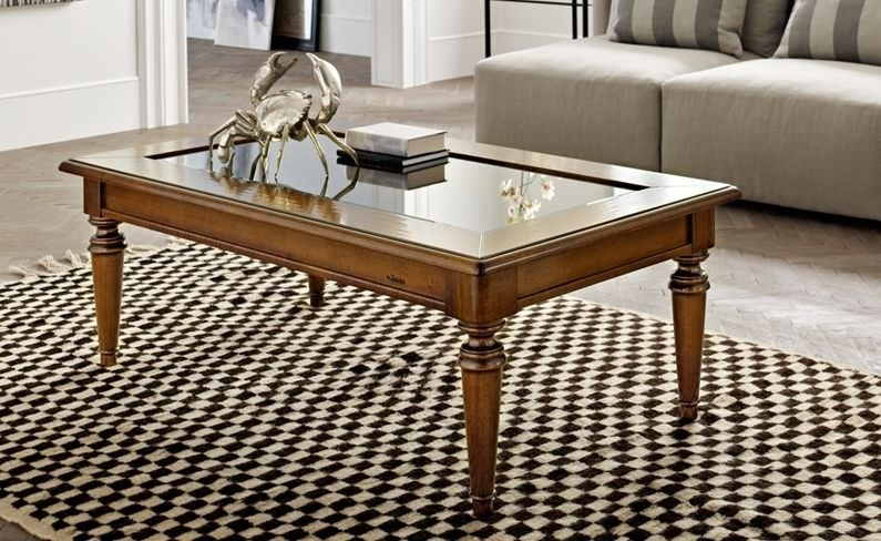 Traditional Coffee Table / Glass / Walnut / Rectangular – Arno – Le With Traditional Coffee Tables (View 2 of 40)