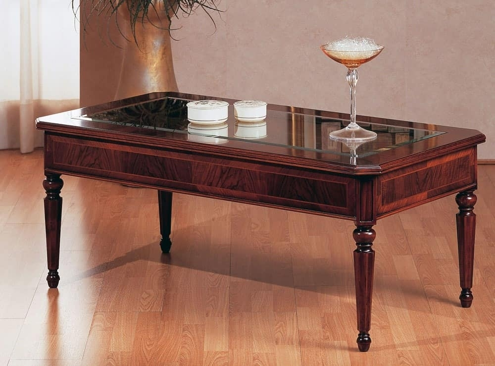Traditional Coffee Table, Luxury, With Glass Top, For Villa | Idfdesign With Traditional Coffee Tables (View 5 of 40)