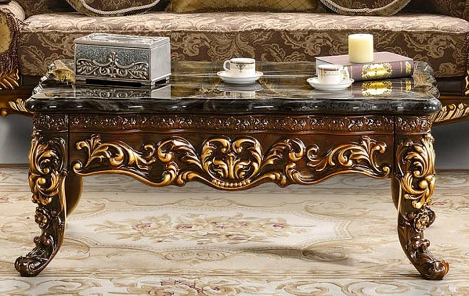 Traditional Marble Coffee Table Hd7121 | Classic Throughout Traditional Coffee Tables (View 21 of 40)