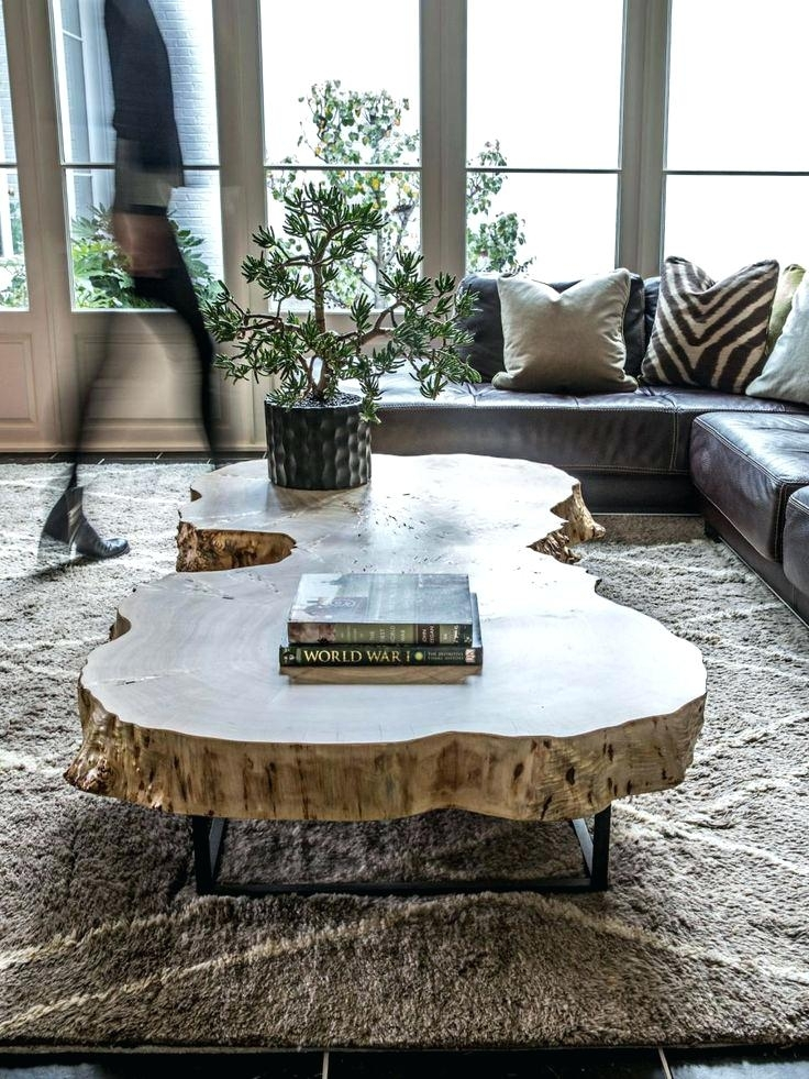 Tree Coffee Table Book Wood Log Slice Tables Elegant Round Live Edge In Sliced Trunk Coffee Tables (View 9 of 40)