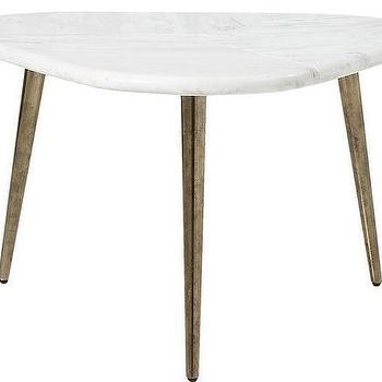 Triangular White Marble Side Table Intended For Intertwine Triangle Marble Coffee Tables (View 15 of 40)