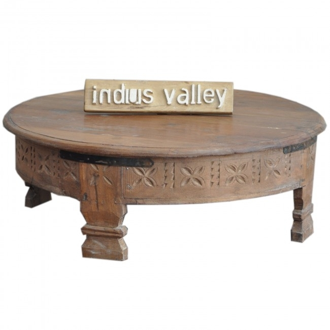 Tribal Grinder Round Small Coffee Table Natural Regarding Kai Small Coffee Tables (Image 39 of 40)