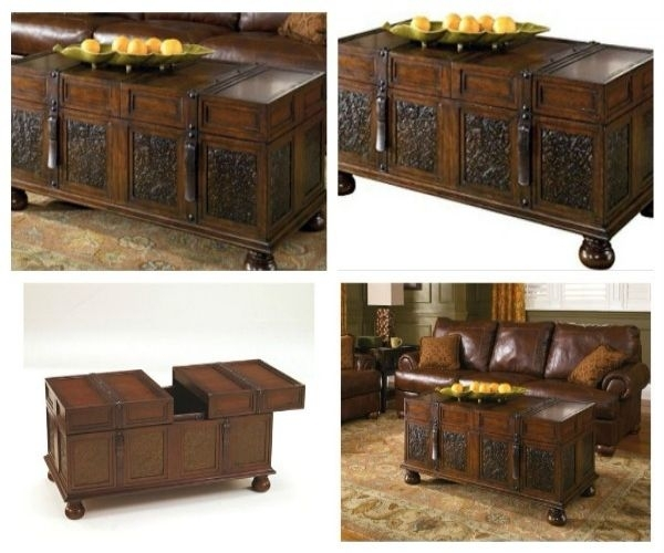 Trunk Coffee Table Storage Antique Style Vintage Wood For Living Regarding Vintage Wood Coffee Tables (Image 23 of 40)