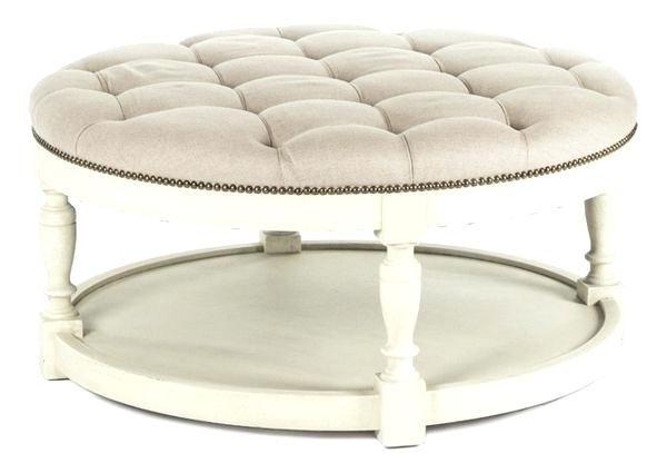 Tufted Coffee Table White Ottoman – Letsbnb Within Round Button Tufted Coffee Tables (Photo 17 of 40)