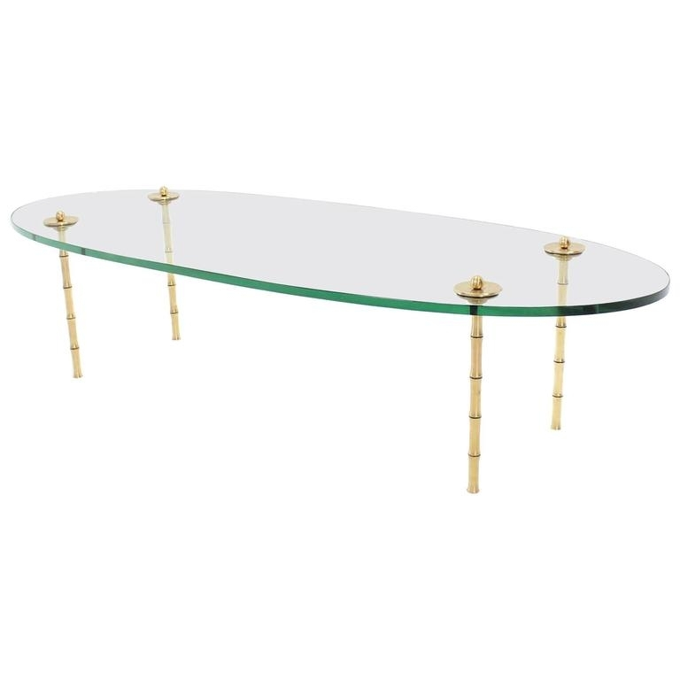 Turned Brass Faux Bamboo Legs Thick Glass Top Oval Coffee Table For Inside Rectangular Coffee Tables With Brass Legs (Photo 19 of 40)