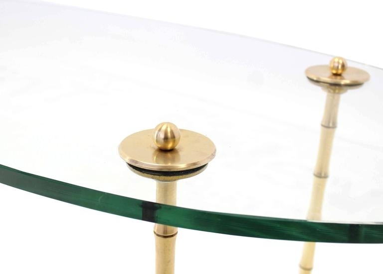 Turned Brass Faux Bamboo Legs Thick Glass Top Oval Coffee Table For Intended For Rectangular Coffee Tables With Brass Legs (View 35 of 40)