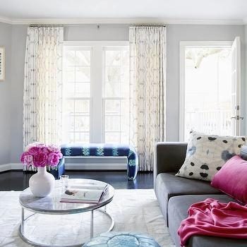 Turquoise Blue And Pink Living Room With Gray Scalloped Roman Shades Intended For Smart Large Round Marble Top Coffee Tables (Photo 14 of 40)
