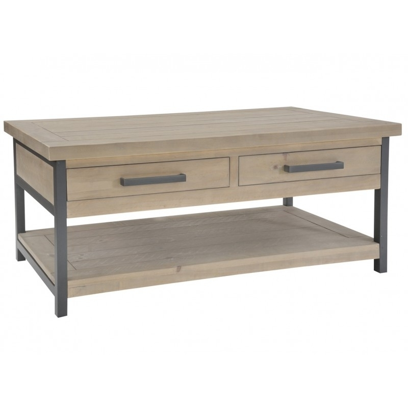 Two Drawer Reclaimed Pine Coffee Table | Nevada For Reclaimed Pine Coffee Tables (View 33 of 40)