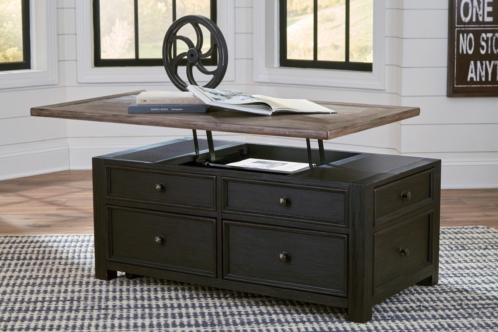 Tyler Creek – Grayish Brown/black – Lift Top Cocktail Table | T736 With Baybrin Cocktail Tables (View 38 of 40)