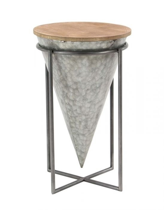 Uma 98744 Modern Inverted Cone Shaped Iron And Wood Accent Table Pertaining To Inverted Triangle Coffee Tables (Photo 33 of 40)