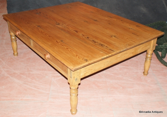 Very Large Pine Coffee Table – Antique Coffee Tables – Antique Tables Pertaining To Antique Pine Coffee Tables (Image 38 of 40)