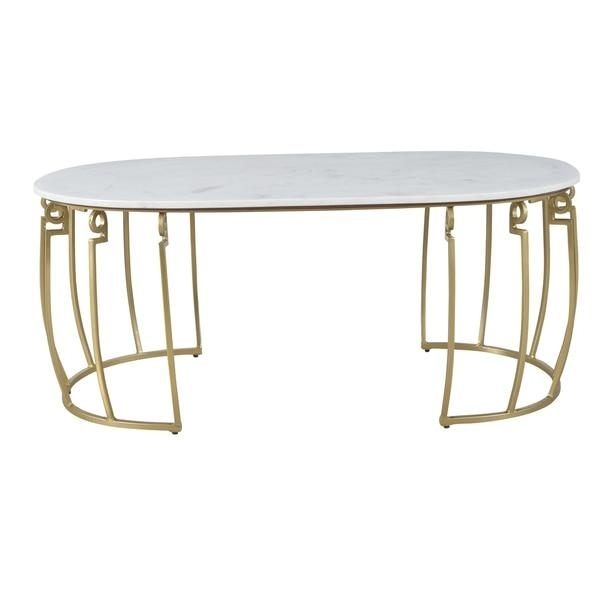 Vice Round White Marble Black Iron Coffee Table With Regard To Modern Marble Iron Coffee Tables (Image 38 of 40)