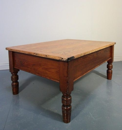Victorian Antique Pine Coffee Table With Storage (Image 39 of 40)