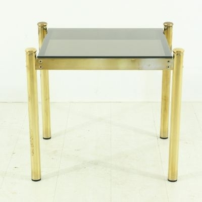 Vintage Brass Coffee Table With Smoked Glass Top For Sale At Pamono Regarding Antique Brass Coffee Tables (View 29 of 40)