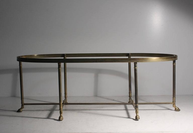 Vintage Brass Oval La Barge Hollywood Regency Six Leg/hoof Coffee With Antique Brass Coffee Tables (Image 38 of 40)
