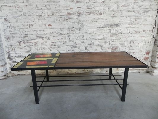 Vintage Coffee Table With Wooden Slats And Large Tile For Sale At Regarding Vintage Wood Coffee Tables (Image 29 of 40)