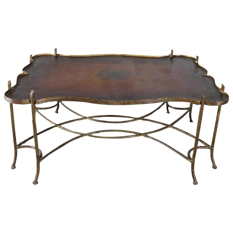 Vintage Gilded Iron Faux Bois Coffee Table With Tole Painted Tray Throughout Faux Bois Coffee Tables (View 19 of 40)