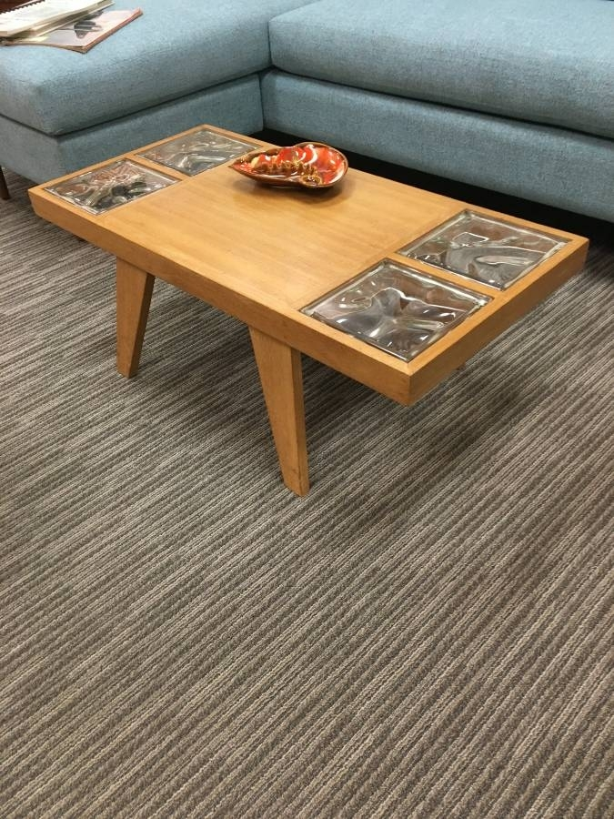 Vintage Mid Century Blond Wood Coffee Table With Glass Inlay – Loft 63 Intended For Vintage Wood Coffee Tables (Image 30 of 40)