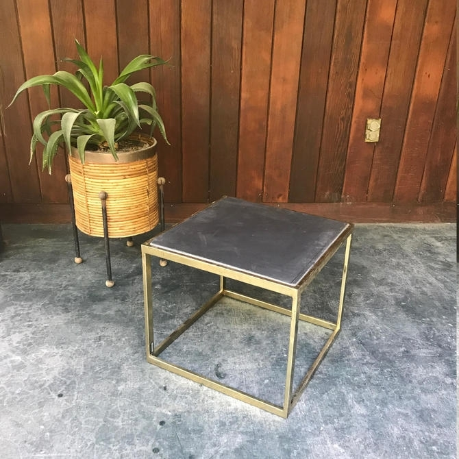 Vintage Mid Century Seagrams Brass Cube Side Table Intended For Brass Iron Cube Tables (Image 40 of 40)