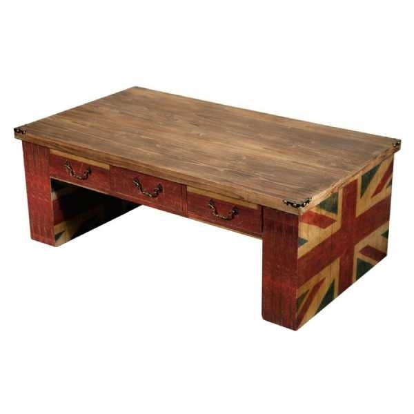 Vintage Retro Union Jack Wooden Coffee Table With Three Drawers With Regard To Vintage Wood Coffee Tables (Image 32 of 40)