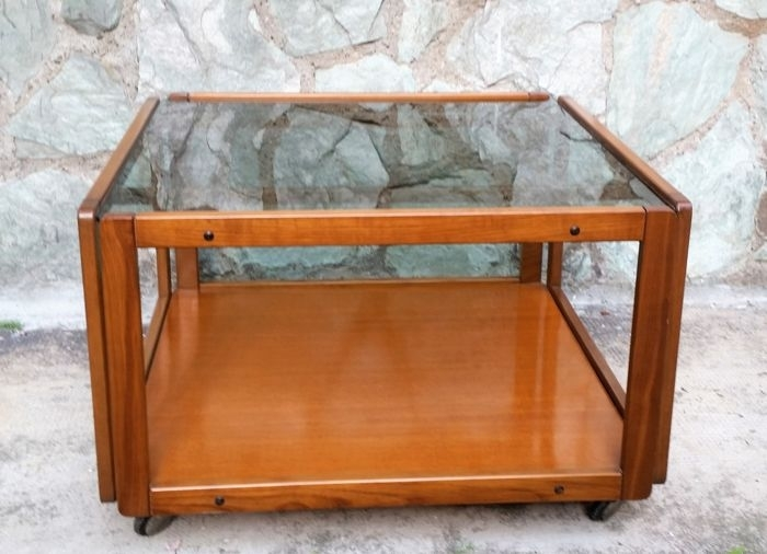 Vintage, Square Wooden Coffee Table With Casters, 1960S – Catawiki With Vintage Wood Coffee Tables (Photo 28 of 40)