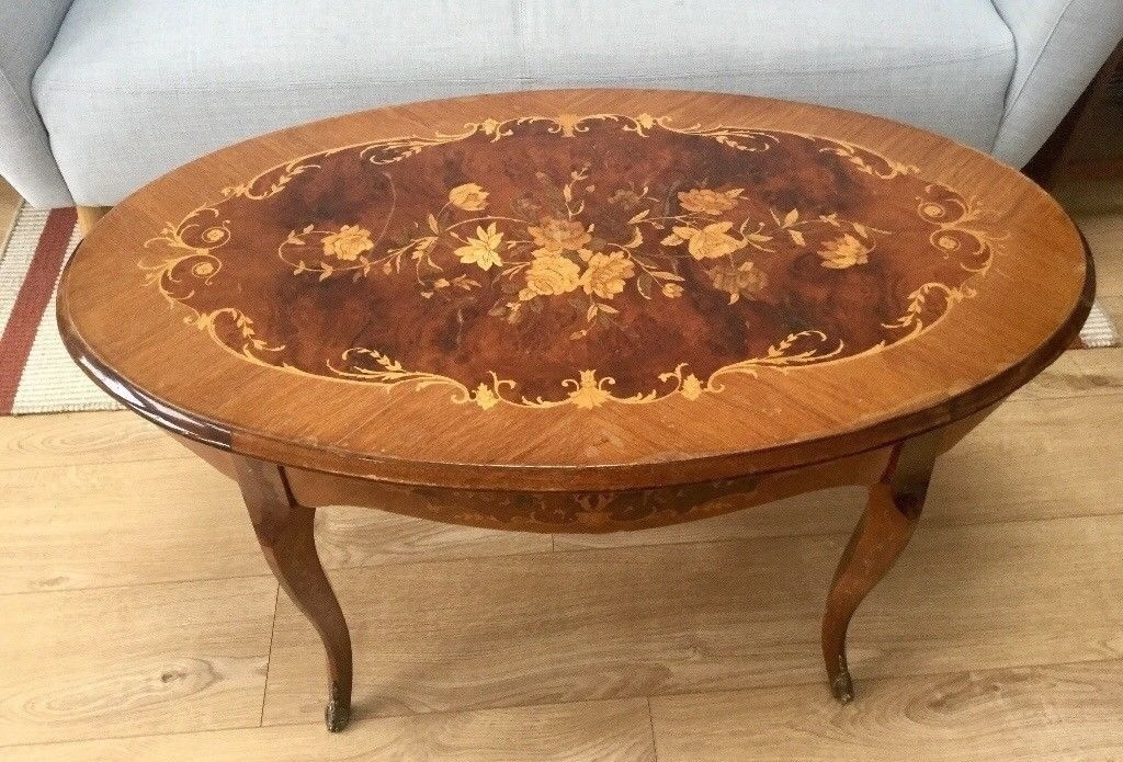 Vintage Wooden Coffee Table, Oval, Marquetry Style Inlaid Pattern For Vintage Wood Coffee Tables (Image 38 of 40)
