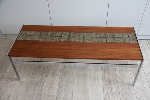 Vintage Wooden Coffee Table With Inlaid Tiles For Sale At Pamono For Vintage Wood Coffee Tables (Image 37 of 40)