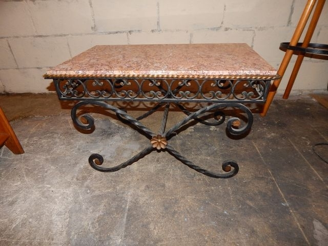Vintage Wrought Iron & Marble Coffee Table, 1930S For Sale At Pamono In Iron Marble Coffee Tables (Image 36 of 40)