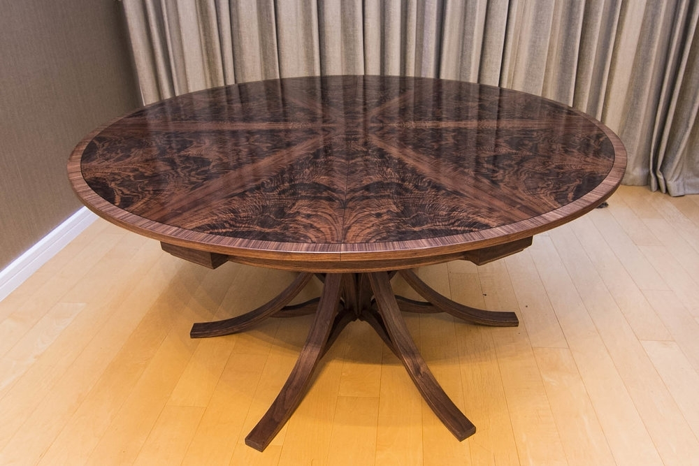 Walnut Curl Expanding Circular Dining Table — Johnson Furniture Regarding Spin Rotating Coffee Tables (Image 40 of 40)
