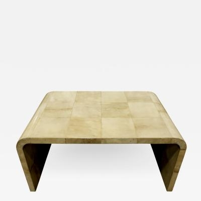 Waterfall Coffee Table In Boxed Lacquered Goatskin 1970S With Regard To Square Waterfall Coffee Tables (View 27 of 40)