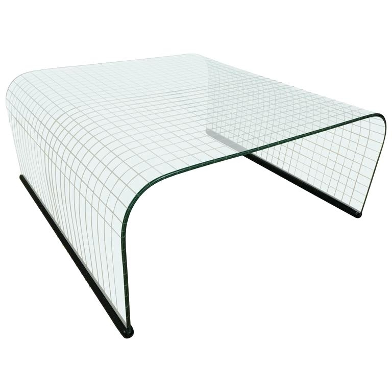 Waterfall Glass Coffee Table Waterfall Grid Pattern Glass Coffee Within Square Waterfall Coffee Tables (View 13 of 40)