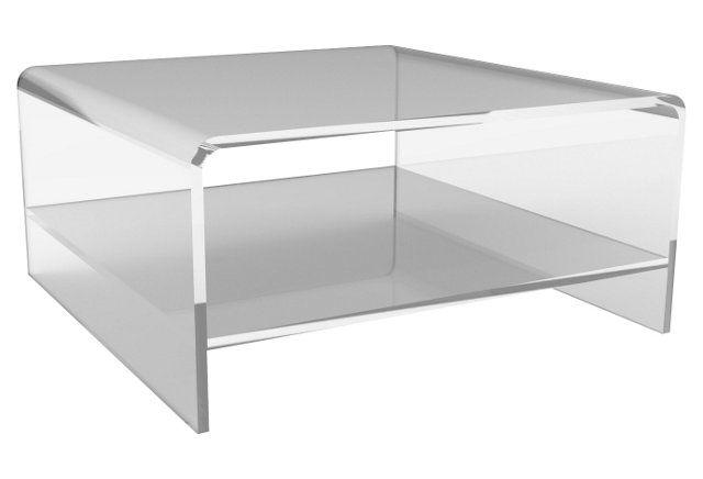 Waterfall Square Coffee Table W/ Shelf 38 Sq | Oakhurst Project Throughout Square Waterfall Coffee Tables (Image 40 of 40)