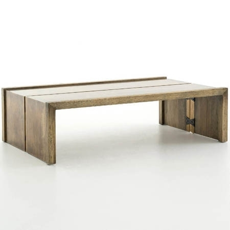 Weaver Antiqued Brass Clad + Oak Wood Coffee Table 50"""