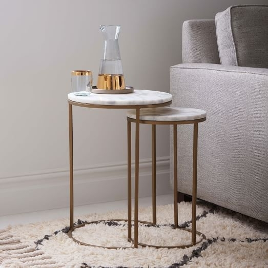 West Elm Marble Round Nesting Side Table (Set Of 2) | West Elm Regarding Set Of Nesting Coffee Tables (View 30 of 40)