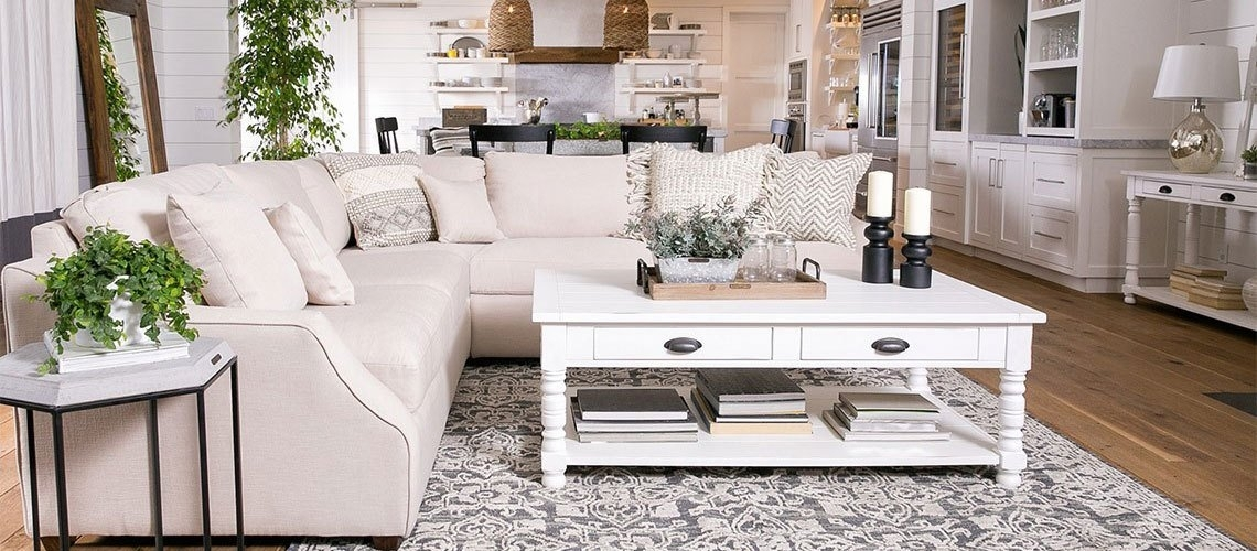 What Is Shabby Chic Style? Tips On Rustic Decorating | Living Spaces With Regard To Magnolia Home Scallop Antique White Cocktail Tables (View 13 of 40)