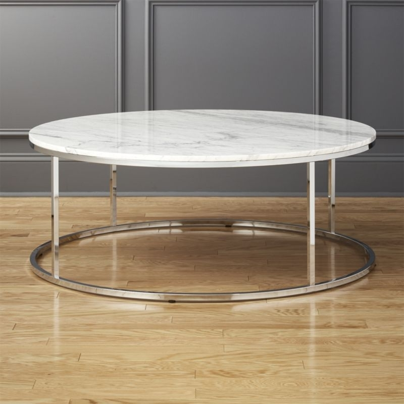 White Coffee Tables | Cb2 Pertaining To Large Slab Marble Coffee Tables With Antiqued Silver Base (Image 40 of 40)