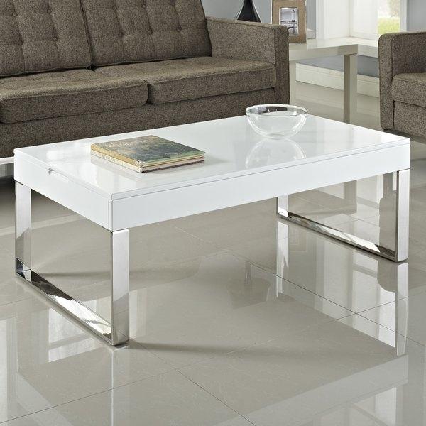 White High Gloss Coffee Table | Wayfair With Stack Hi Gloss Wood Coffee Tables (Image 40 of 40)