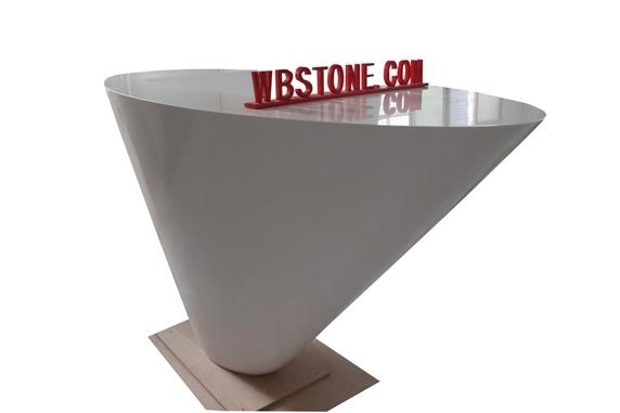 White Inverted Triangle Special Comapny Reception Desk With Regard To Inverted Triangle Coffee Tables (View 25 of 40)