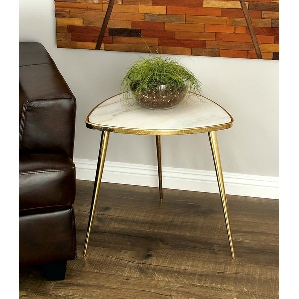 White Marble Accent Table | Wayfair Intended For Intertwine Triangle Marble Coffee Tables (View 30 of 40)