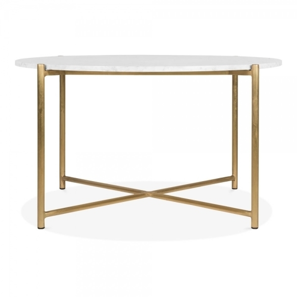 White Marble Aria Round Coffee Table Brass | Modern Coffee Tables With Regard To Inverted Triangle Coffee Tables (View 20 of 40)