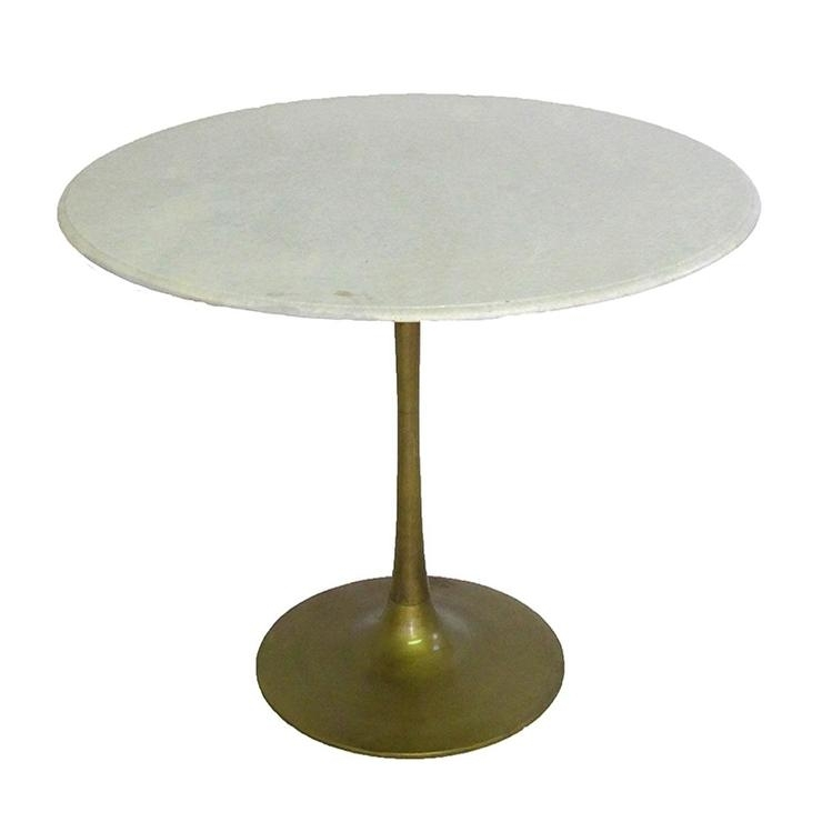 White Marble Brass Base Tulip Table In Round White Wash Brass Painted Coffee Tables (View 16 of 40)