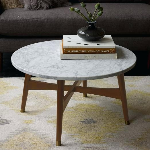 White Marble Coffee Table Coffee Table Round White Marble Coffee Intended For Intertwine Triangle Marble Coffee Tables (Photo 27 of 40)