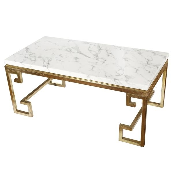 White Marble Top Coffee Table – Verysillymayor For Modern Marble Iron Coffee Tables (Image 40 of 40)