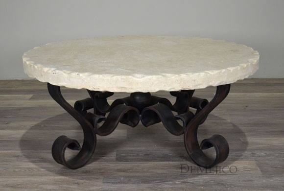 White Portfirio Coffee Table, Spanish Chiseled Travertine Coffee Table Intended For Chiseled Edge Coffee Tables (View 8 of 40)