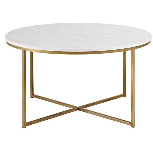 White Round Coffee Tables You'll Love | Wayfair For Slab Small Marble Coffee Tables With Antiqued Silver Base (Image 39 of 40)