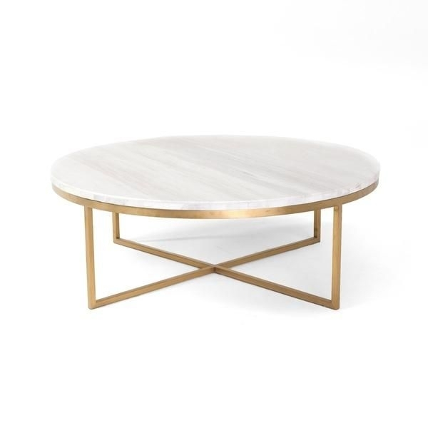 White Round Marble Gold Base Coffee Table | Home In 2018 | Pinterest With Regard To Slab Large Marble Coffee Tables With Brass Base (Image 40 of 40)