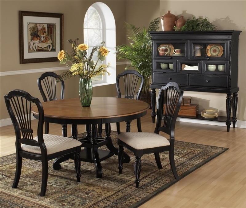 Wilshire 5 Piece Round/oval Dining Set In Rubbed Black And Antique Throughout Wilshire Cocktail Tables (Image 32 of 35)
