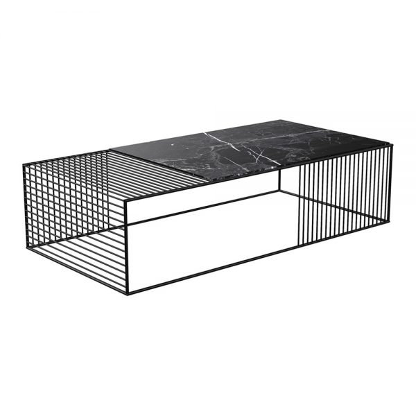Wire Coffee Table – Black Marble, Black – Rouse Home In Black Wire Coffee Tables (Image 32 of 40)