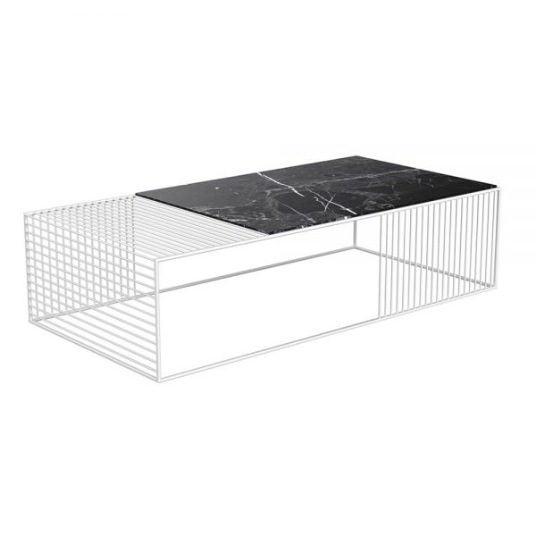 Wire Coffee Table – Black Marble, White – Rouse Home Within Black Wire Coffee Tables (Image 33 of 40)