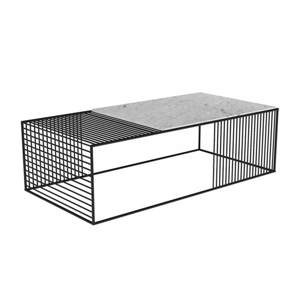 Wire Coffee Table – White Marble, Black – Rouse Home Throughout Black Wire Coffee Tables (Image 34 of 40)
